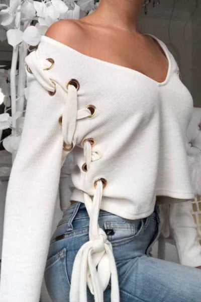 Wearvip Casual V-neck Lace Up Blouse