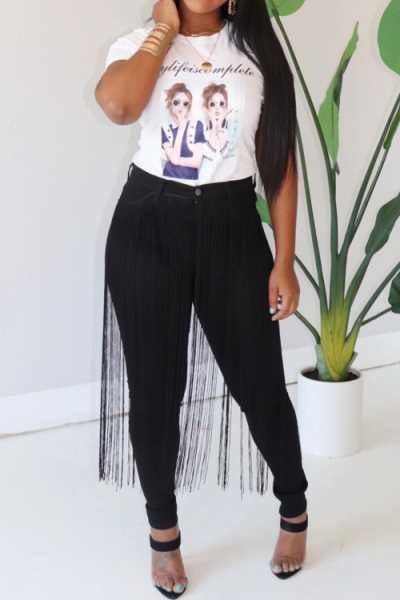 Wearvip Casual Tassel Trim Pencil Jeans Fringe Pants
