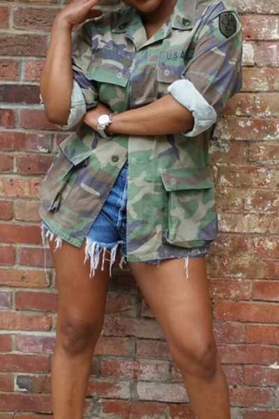 Wearvip Casual Camouflage Print Sequined Coat