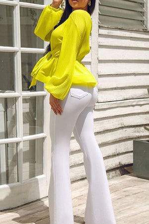 Wearvip Casual V-neck Long Seleeve Tie Chiffon Blouse