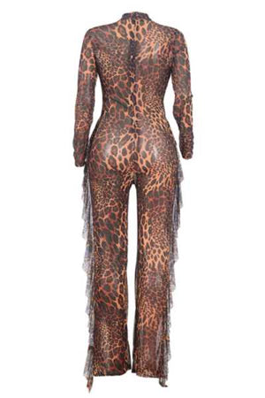 Wearvip Casual Flounce Trim See-Through Leopard Print Jumpsuit(no chain)
