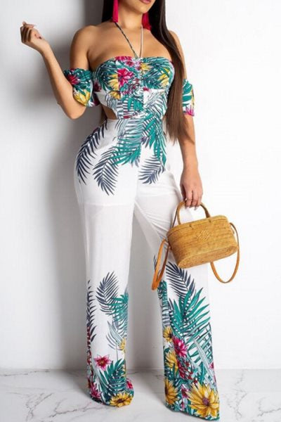 Wearvip Bohemian Tropical Print Halter Lace Up Backless Jumpsuit