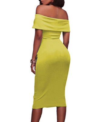 Wearvip Party Solid color Strapless Midi Dress