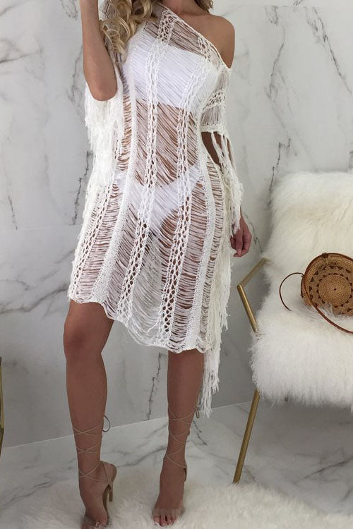 Wearvip Bohemian See-Through Beach Cover-Up
