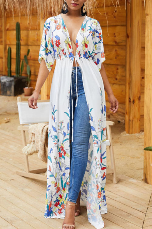 Wearvip Casual Floral Print Half Sleeve Long Coat