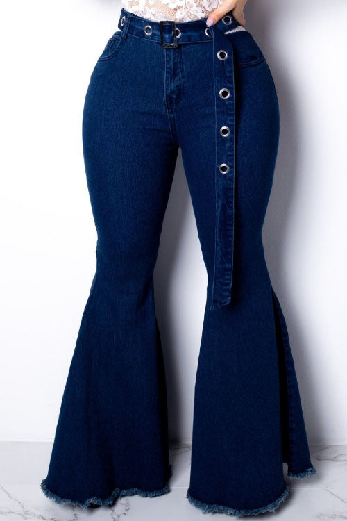 Wearvip Casual High Elastic Flare Leg Jeans