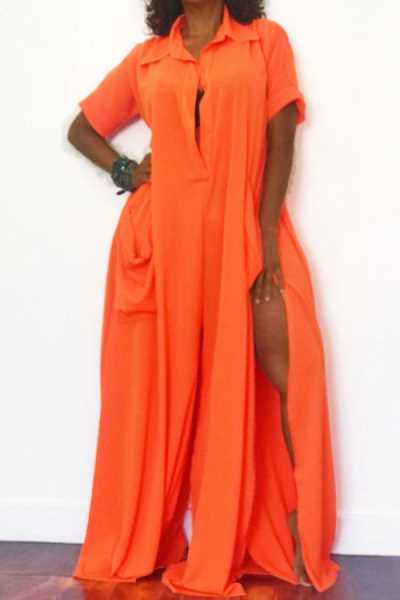 Wearvip Casual Solid Color Split Loose Jumpsuit