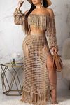 Wearvip Bohemian See-through Tassel Trim Skirt Sets