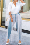 Wearvip Casual High Rise Tassel Trim Pencil Jeans Fringe Pants