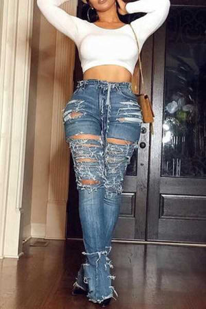 Wearvip Casual High Rise Broken Holes Flare Leg Jeans(no chain)