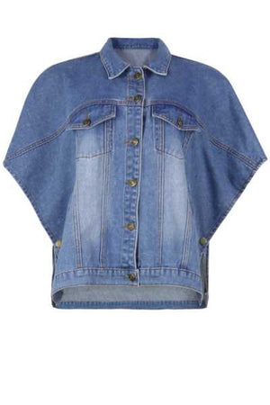 Wearvip Casual Button Up Loose Jean Coat