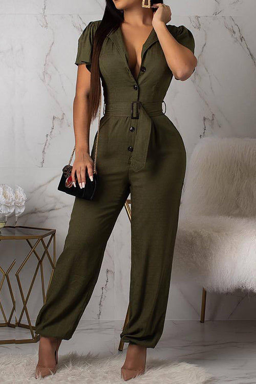 Wearvip OL Button Up Belted Jumpsuit