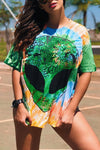 Wearvip Casual Loose Tie Dye Print T-shirt