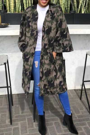 Wearvip Casual Camouflage Print Loose Coat