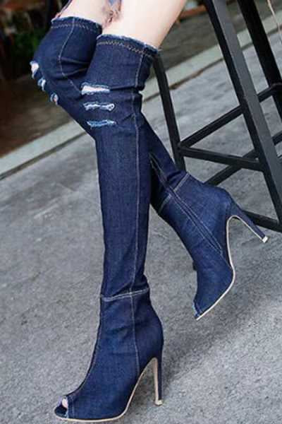 Wearvip Casual Side Zipper Fish Mouth Denim Stretch High Heel Boots