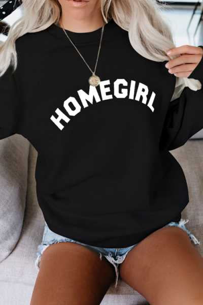 Wearvip Casual Round Neck Letters Print Hoodies