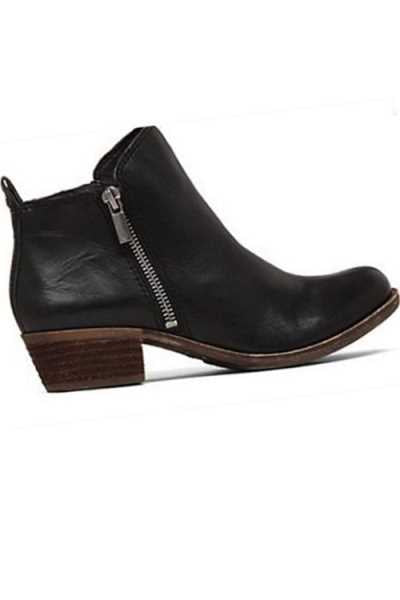 Wearvip Casual Thick Heel Round Toe Side Zipper Ankle Boots