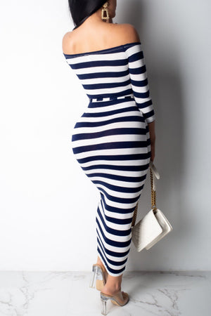 Wearvip OL Strapless Striped Print Midi Dress