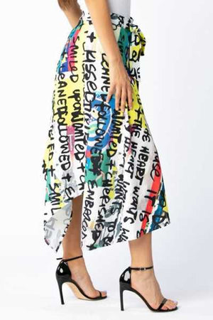 Wearvip Casual Asymmetrical Lace Up Cute Letters Print Skirt