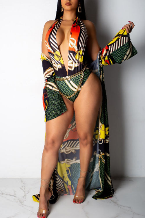 Wearvip Bohemian V-Neck Tropical Print One-Pieces