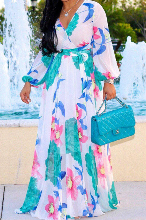 Wearvip Bohemian Floral Print V-neck Maxi Chiffon Dress