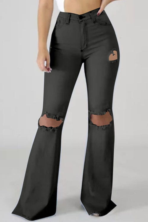Wearvip Casual High Rize Distressed Flare Leg Jeans