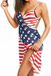 Wearvip Bohemian National Flag Print Spaghetti Strap Swimdress(No Underwear)