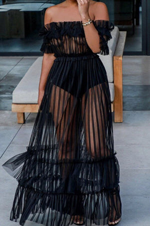 Wearvip Bohemian Spaghetti Strap See-through Tissue Maxi Dress