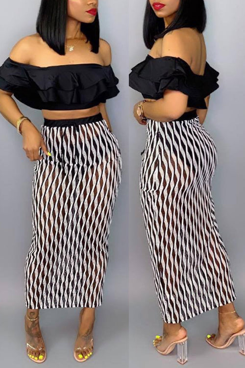 Wearvip Casual Flounce Trim Geometric Print Skirt Sets