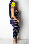 Wearvip Casual Sleeveless Striped Print Maxi Dress(With Headband)