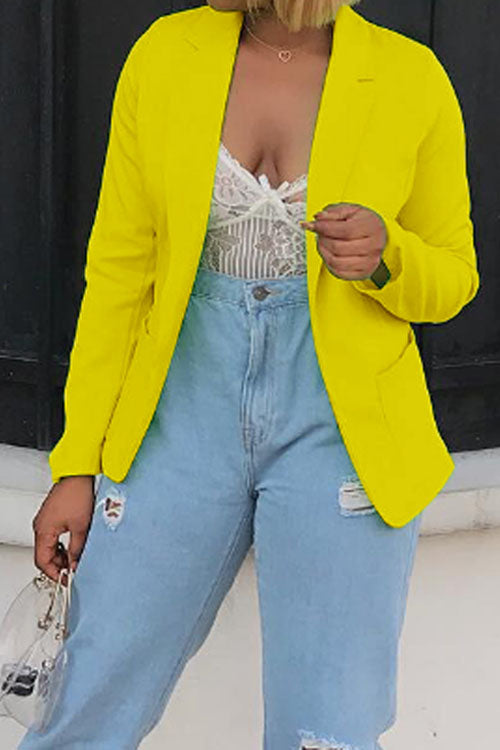 Wearvip Casual Lapel Yellow Short Blazer