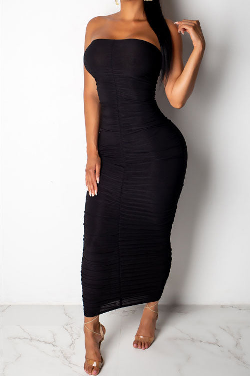 Wearvip Party Strapless Backless Solid Color Bodycon Maxi Dress