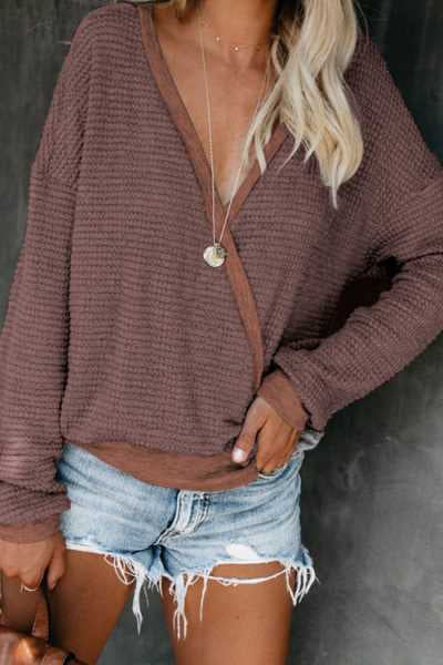 Wearvip Casual V-neck Sweater