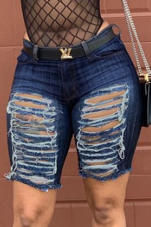 Wearvip Casual Distressed Mill White Jean Shorts