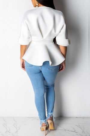 Wearvip Casual V-neck Half Sleeve Blouse