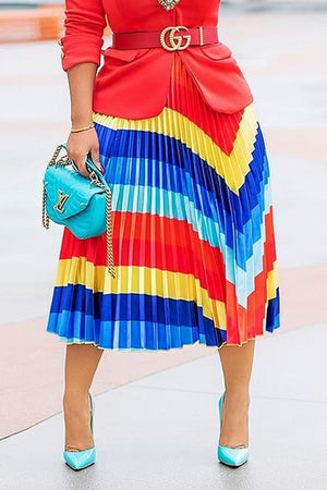 Wearvip Casual Gradient Print Skirt
