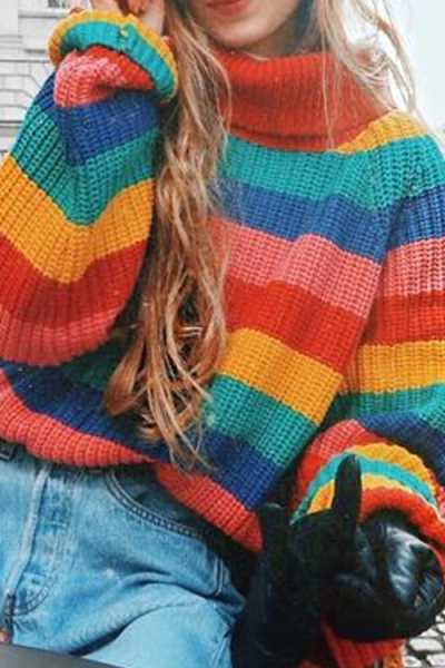 Wearvip Casual High Collar Rainbow Color Patchwork Sweater