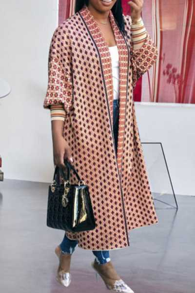 Wearvip Casual Threaded Sleeve Geometric Print Coat
