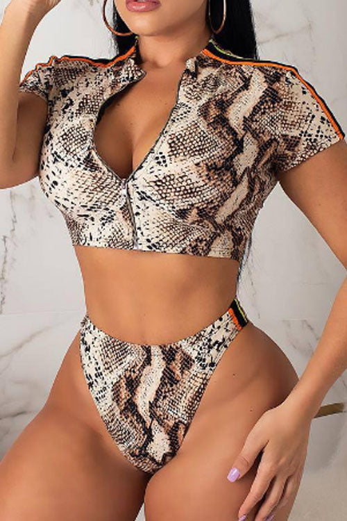 Wearvip Bohemian Animal Print Bikini