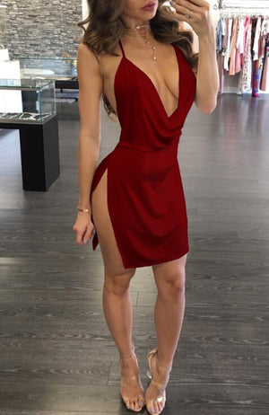 Women Sexy Deep V-Neck Halter Backless Slit Mini Party Club Dress