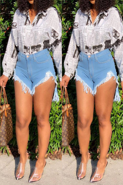 Wearvip Casual High Rise Tassels Bodycon Denim Shorts