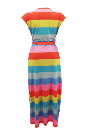 Wearvip Casual O-neck Sleeveless Tie Striped Print Maxi Dress