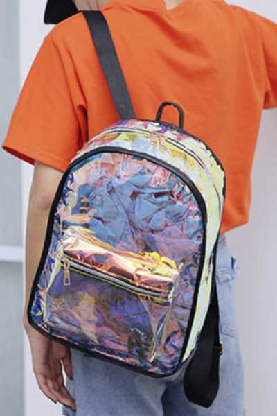Wearvip Casual Laser Transparent Backpack