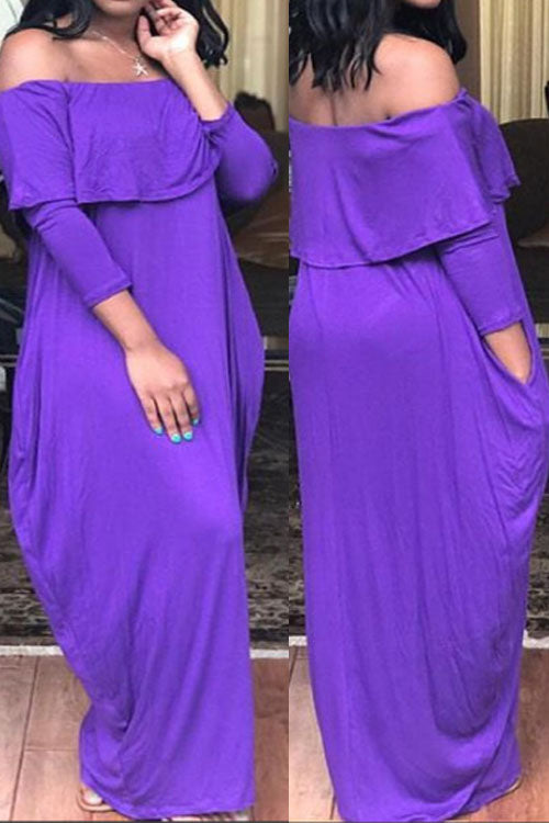 Wearvip Casual Solid Color Strapless Loose Maxi Dress