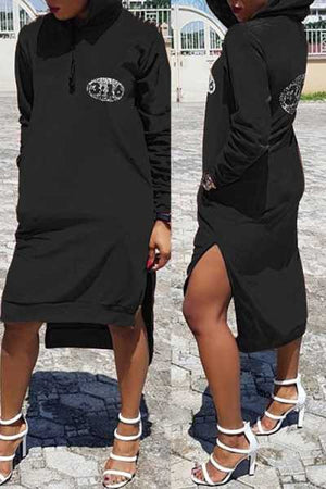 Wearvip Casual Letters Print Hooded Midi Dress