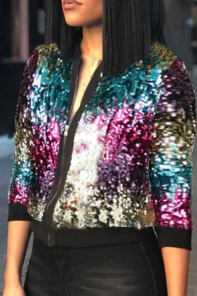 Wearvip Casual Zipper Sequined Jacket