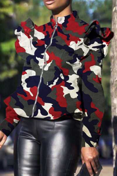 Wearvip Casual Standing Collar Flounce Trim Zipper Camouflage Print Coat