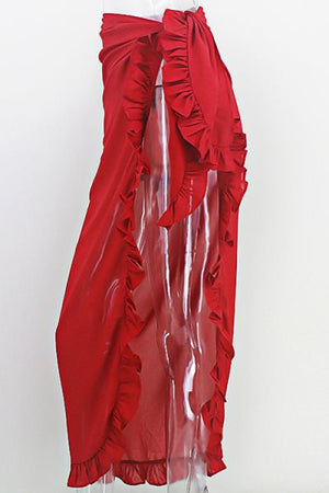 Wearvip Bohemian Solid Color Flounce Trim Chiffon Cover up Wrap Skirt