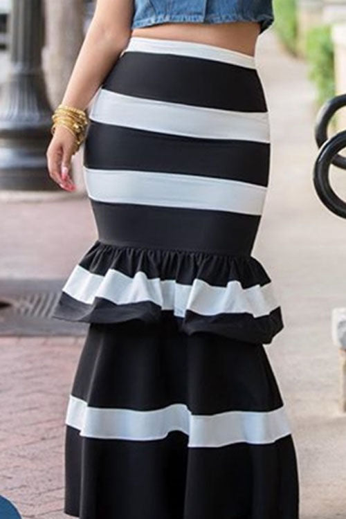 Wearvip Party Flounce Trim Striped Print Skirt
