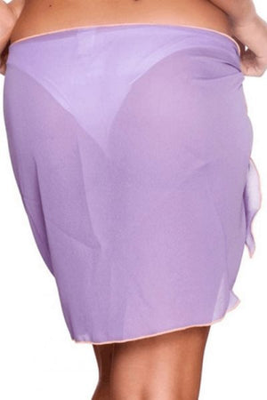 Wearvip Bohemian Solid Color Tissue Chiffon Lace Up Cover up Wrap Skirt
